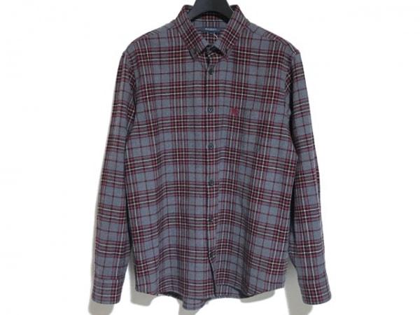 バーバリーロンドン 長袖シャツ サイズLL メンズ美品  グレー×レッド×マルチ