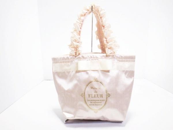 Maison de FLEUR(メゾンドフルール) トートバッグ美品  ピンク×ゴールド シルク
