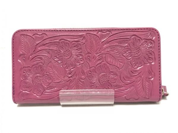 カービングトライブス 長財布 ピンク 型押し加工/ラウンドファスナー レザー