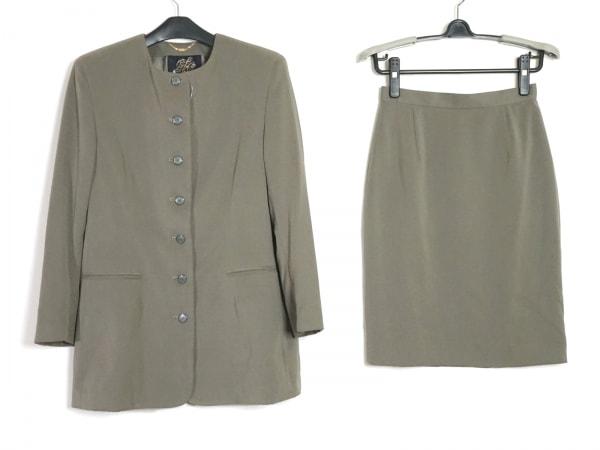 伊太利屋/GKITALIYA(イタリヤ) スカートスーツ サイズ9A2 レディース美品  カーキ
