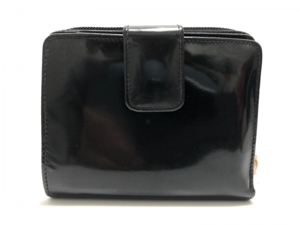 GUCCI(グッチ) 2つ折り財布 バンブー - 黒 エナメル(レザー)×化学繊維