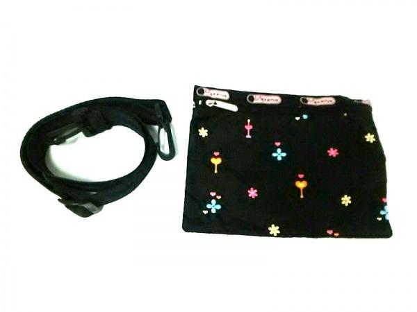 レスポートサック ボストンバッグ美品  黒×ピンク×マルチ 刺繍 レスポナイロン