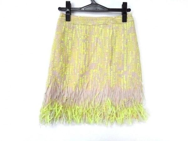 ミスアドラ スカート サイズ0 XS レディース美品  ライトグレー×イエロー×ピンク