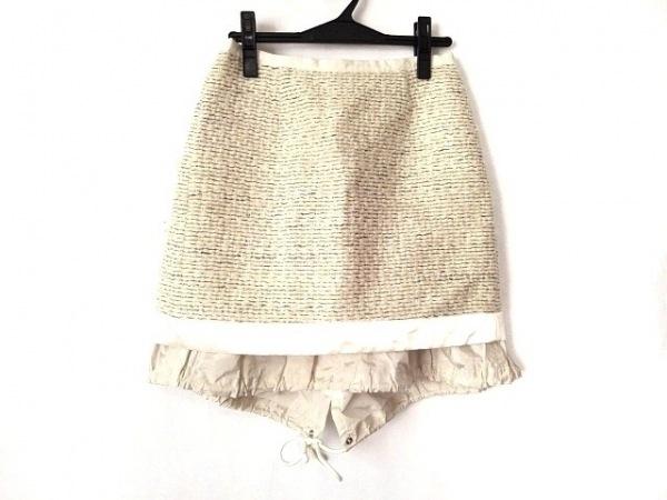Sacai(サカイ) スカート サイズ2 M レディース アイボリー×黒 ボーダー/変形デザイン