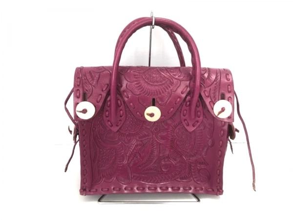 カービングトライブス ハンドバッグ美品  マエストラS ピンク 型押し加工 レザー