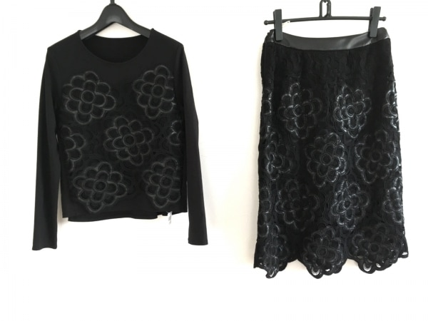 HIROKO BIS(ヒロコビス) スカートセットアップ サイズ9 M レディース美品  黒