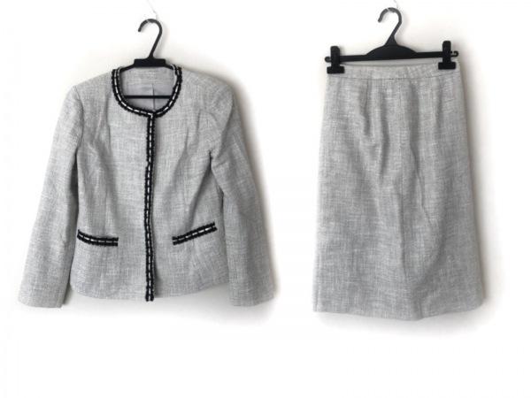 レリアン スカートスーツ サイズ7 S レディース美品  白×黒 肩パッド/レザー