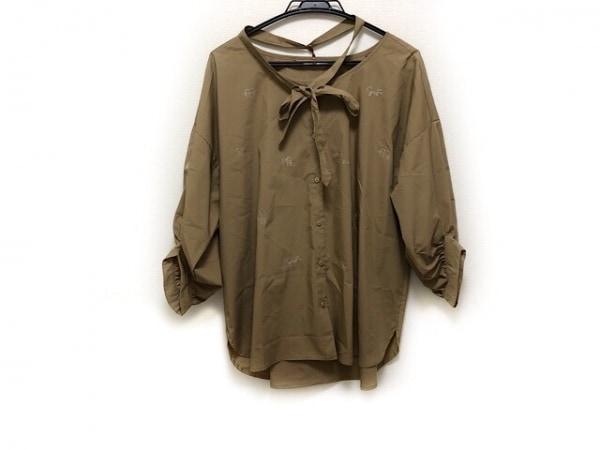 イタリヤ 七分袖シャツブラウス サイズ11 M レディース美品  ライトブラウン×白 刺繍