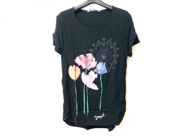 Desigual(デシグアル) 半袖Tシャツ サイズL レディース美品  黒×ピンク×マルチ
