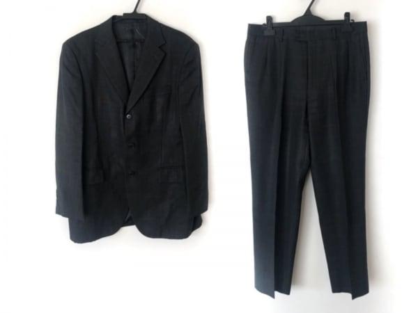ゴタイリク シングルスーツ メンズ 黒×ダークグレー 肩パッド/ネーム刺繍