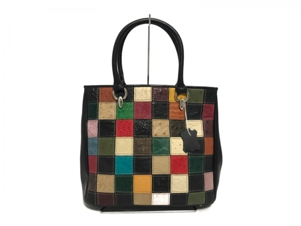 SANPO(サンポー) ハンドバッグ美品  黒×マルチ オーストリッチ×レザー