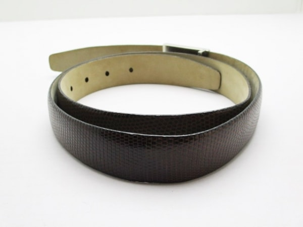 Brioni(ブリオーニ) ベルト 90 ダークブラウン×シルバー リザード×金属素材