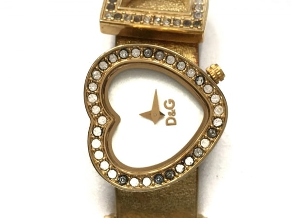 D&G(ディーアンドジー) 腕時計 レディース ラインストーンベゼル/ハート 白