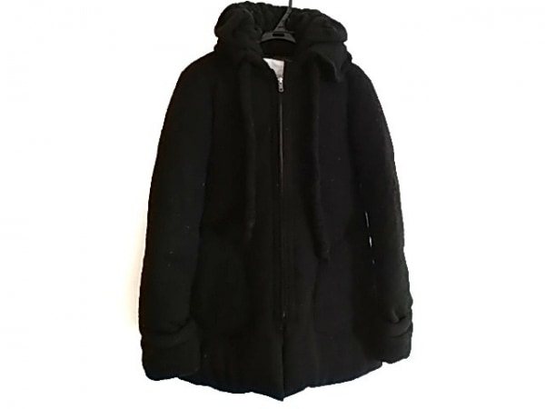 アンシャントマン ダウンコート サイズ38 M レディース 黒 ニット/冬物