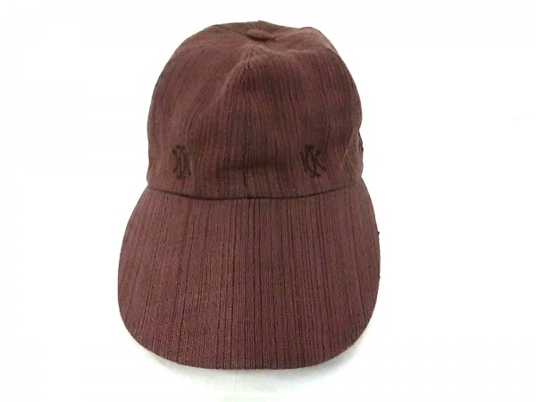 HERMES(エルメス) キャップ 56 ブラウン 刺繍/MOTSCH レーヨン×麻