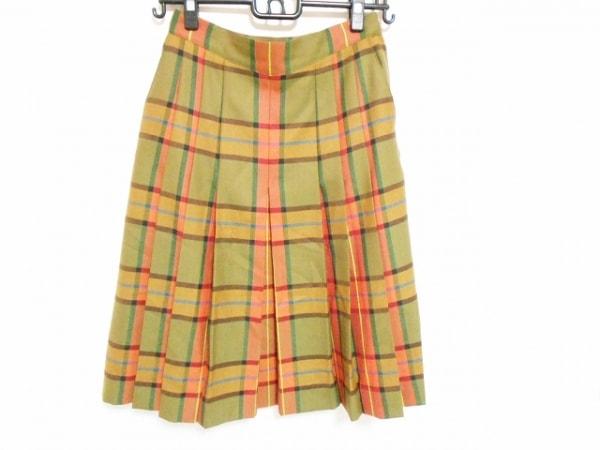 DAKS(ダックス) スカート サイズ66-92 レディース美品  カーキ×オレンジ×マルチ