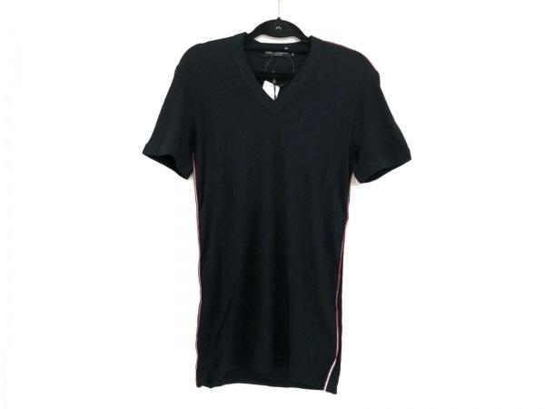 ドルチェアンドガッバーナ 半袖Tシャツ サイズ50 M メンズ美品  黒×マルチ Vネック