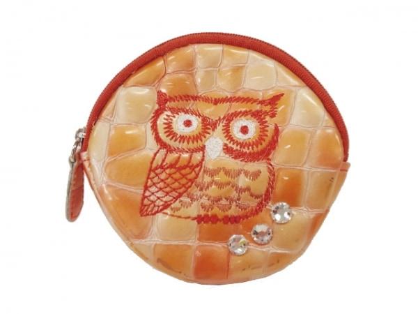 コッコフィオーレ コインケース オレンジ×マルチ フクロウ/刺繍/型押し加工