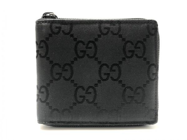 GUCCI(グッチ) 2つ折り財布美品  GG柄 - 黒 ラウンドファスナー ナイロンジャガード