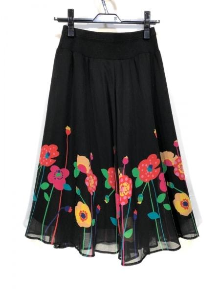 ソニアリキエル スカート サイズ38 M レディース 黒×レッド×マルチ 花柄
