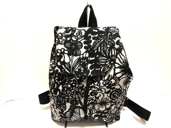 marimekko(マリメッコ) リュックサック美品  白×黒 花柄 キャンバス