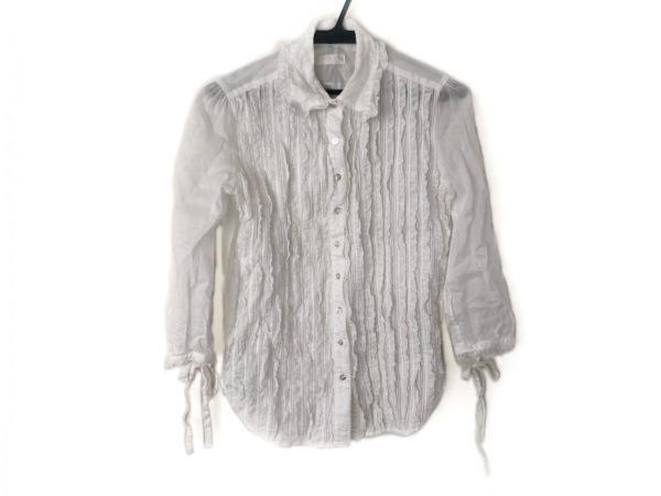 INGEBORG(インゲボルグ) 七分袖シャツブラウス サイズL レディース美品  白 フリル