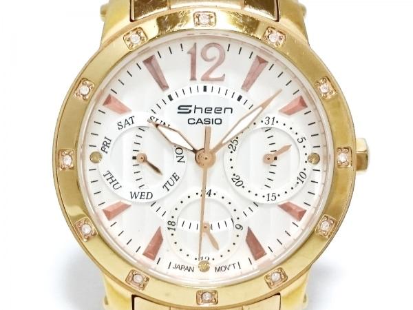カシオ 腕時計 SHEEN SHN-2012GD レディース クロノグラフ/ラインストーンベゼル