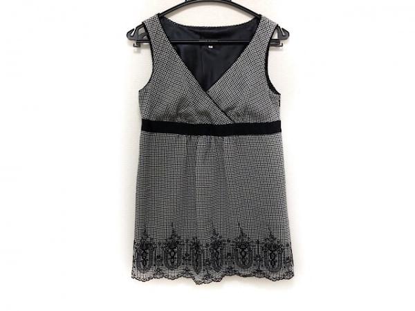 ジャスグリッティー チュニック サイズ2 M レディース新品同様  白×黒 千鳥格子/刺繍