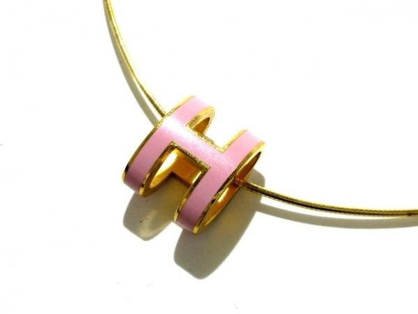 HERMES(エルメス) ネックレス ポップアッシュ 金属素材 ゴールド×ピンク