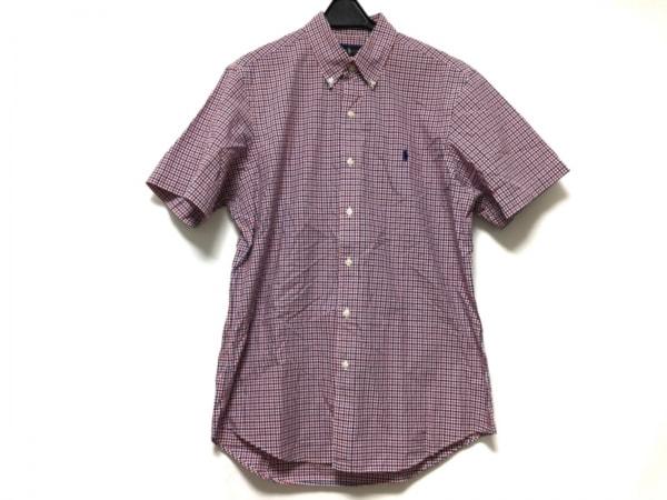 ラルフローレン 半袖シャツ サイズM メンズ レッド×ダークネイビー×白 チェック柄