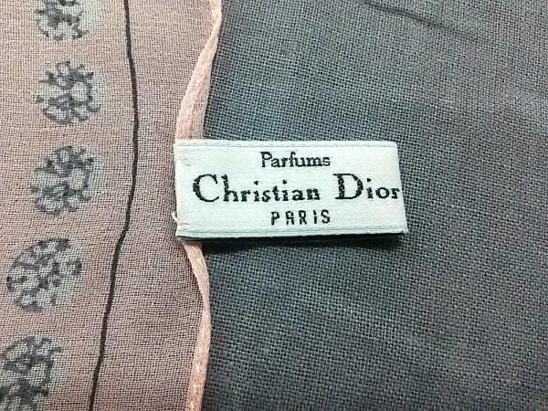 クリスチャンディオール スカーフ美品  ピンク×ダークグレー×白 Parfums