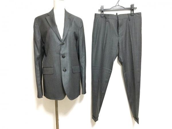 ディースクエアード シングルスーツ サイズ48 M メンズ美品  グレー×ブルーグレー