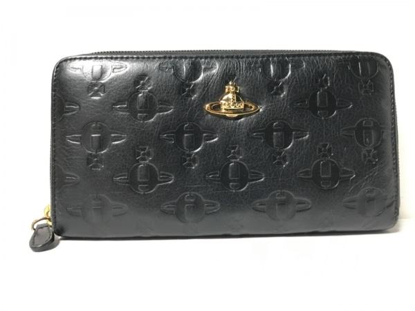 ヴィヴィアンウエストウッド 長財布 - 黒 オーブ/型押し加工/ラウンドファスナー