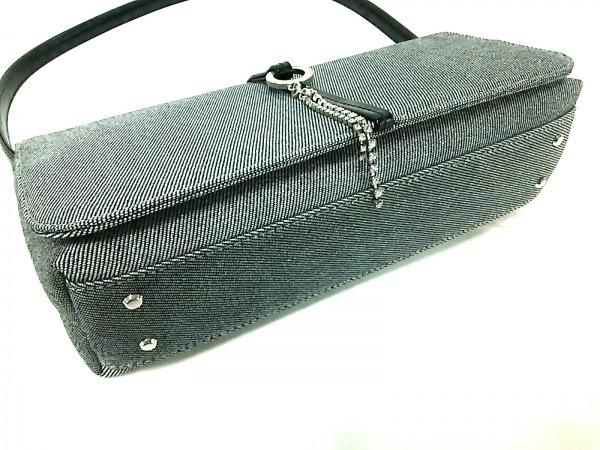 Ungaro(ウンガロ) ハンドバッグ美品  グレー×黒 ラインストーン 化学繊維×レザー