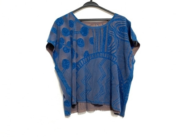 プリーツプリーズ 半袖カットソー サイズ3 L レディース美品  ブルー×ダークブラウン