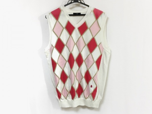 Munsingwear(マンシングウェア) ベスト サイズL メンズ 白×レッド×ピンク