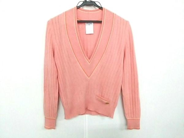 CHANEL(シャネル) 長袖セーター サイズ36 S レディース ピンク×オレンジ×アイボリー