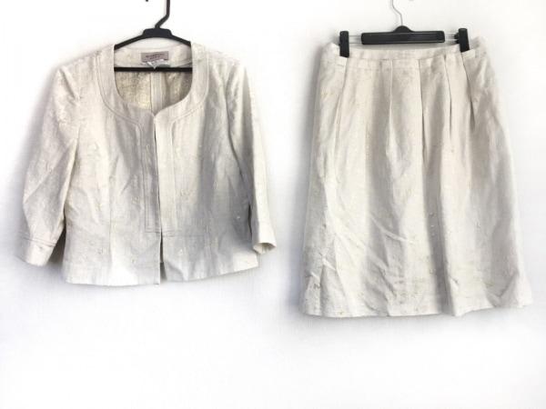 GIVENCHY(ジバンシー) スカートスーツ サイズ42 L レディース 白×ゴールド ラメ