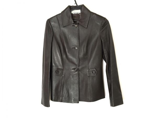 バーニーズ ジャケット サイズ38 M レディース ダークブラウン 肩パッド/レザー