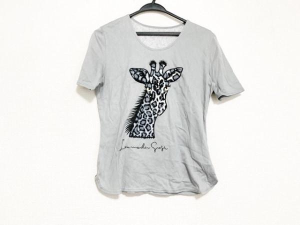 イタリヤ 半袖Tシャツ サイズ9A2 レディース美品  ライトグレー×黒×白 キリン/刺繍
