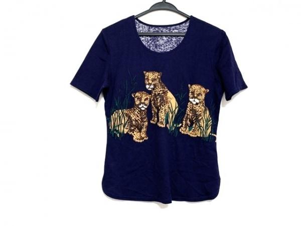 イタリヤ 半袖Tシャツ サイズ7A2 レディース美品  ネイビー×ライトブラウン×マルチ