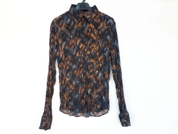 トルネードマート 長袖シャツ サイズL メンズ新品同様  黒×ライトブルー×ゴールド