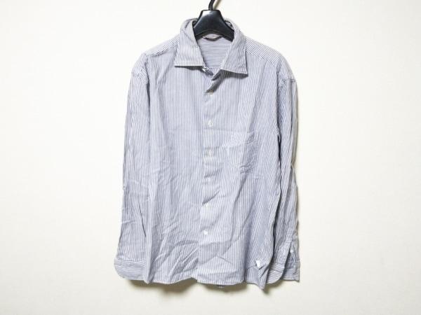 Umii 908(ウミ908) 長袖シャツ メンズ 白×ダークネイビー ストライプ