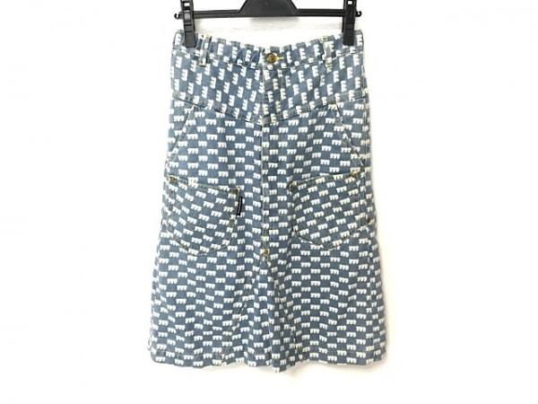 メルシーボークー スカート サイズ0 XS レディース美品  ライトブルー×アイボリー