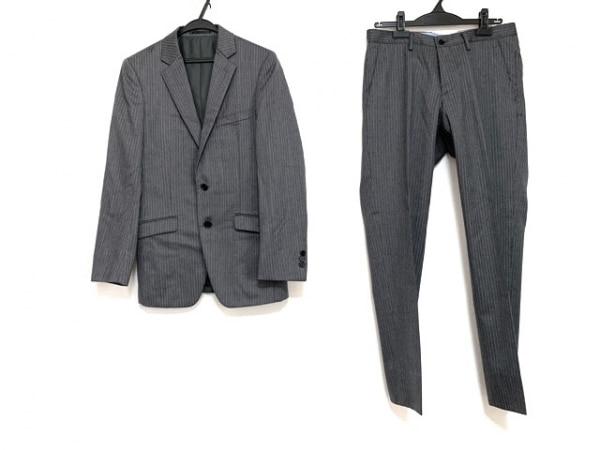 JUN MEN(ジュンメン) シングルスーツ サイズM メンズ グレー×白 ストライプ