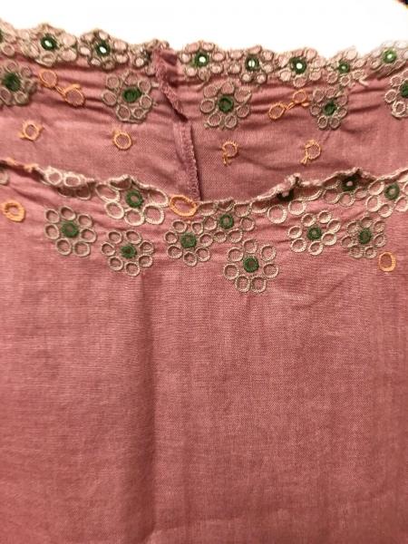 ホコモモラ ワンピース サイズ40 XL レディース ピンク×グリーン×マルチ 刺繍