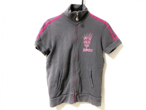 ozone rocks(オゾン・ロックス) ジャージ レディース ダークグレー×ピンク 半袖