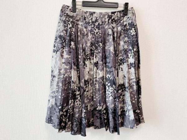 PRADA(プラダ) スカート サイズ42 M レディース グレー×黒×アイボリー プリーツ