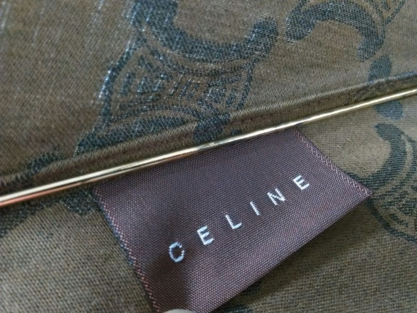 CELINE(セリーヌ) 折りたたみ傘美品  マカダム柄 ブラウン×ダークグレー 化学繊維