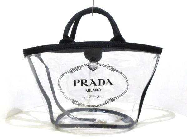 PRADA(プラダ) トートバッグ プレックスカナパ クリア×黒 ビニール×キャンバス